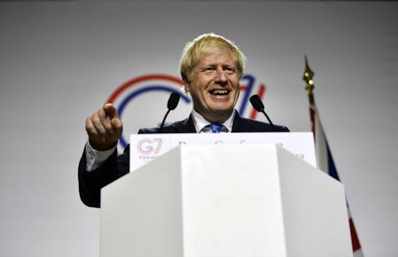 Boris Johnson tijdens de G7-top in Biarritz.