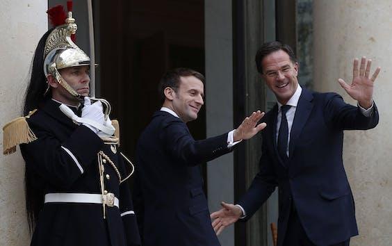 Emmanuel Macron en Mark Rutte
