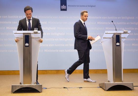 Premier Mark Rutte en Hugo de Jonge, minister van Volksgezondheid