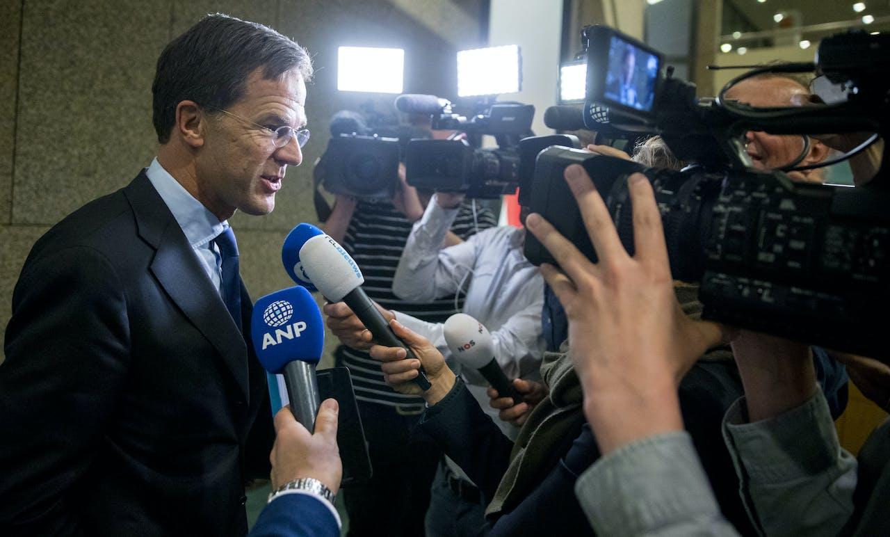 Premier Rutte na het Tweede Kamerdebat over de omstreden memo's rond de afschaffing van de dividendbelasting.