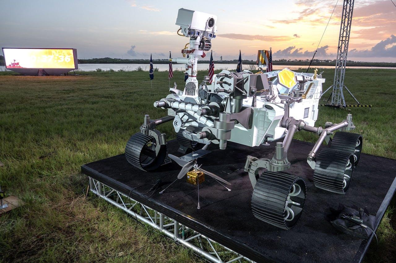 Een model op ware grootte van de nieuwe Marsrover.