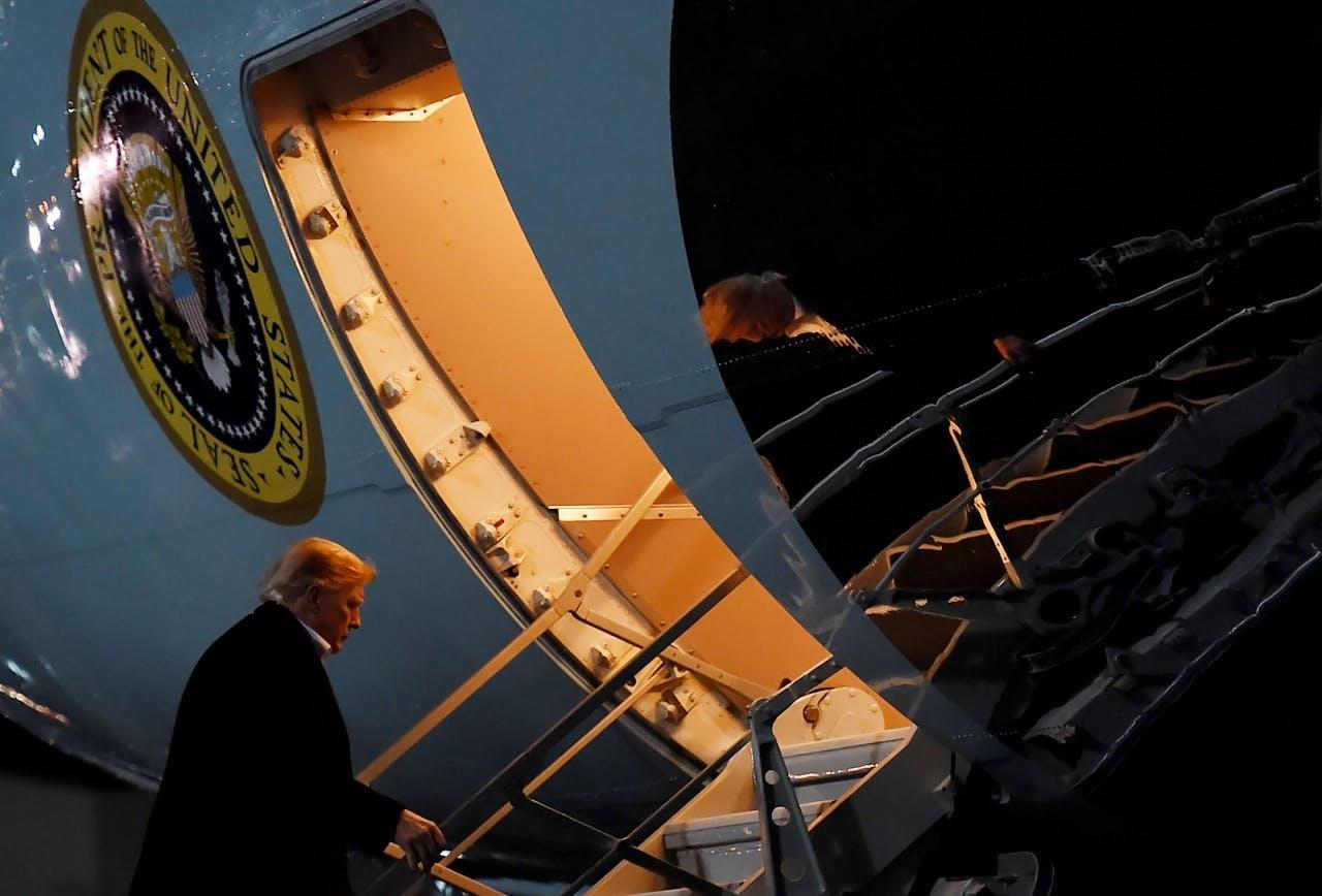 Donald Trump op Ramstein Air Base, Duitsland