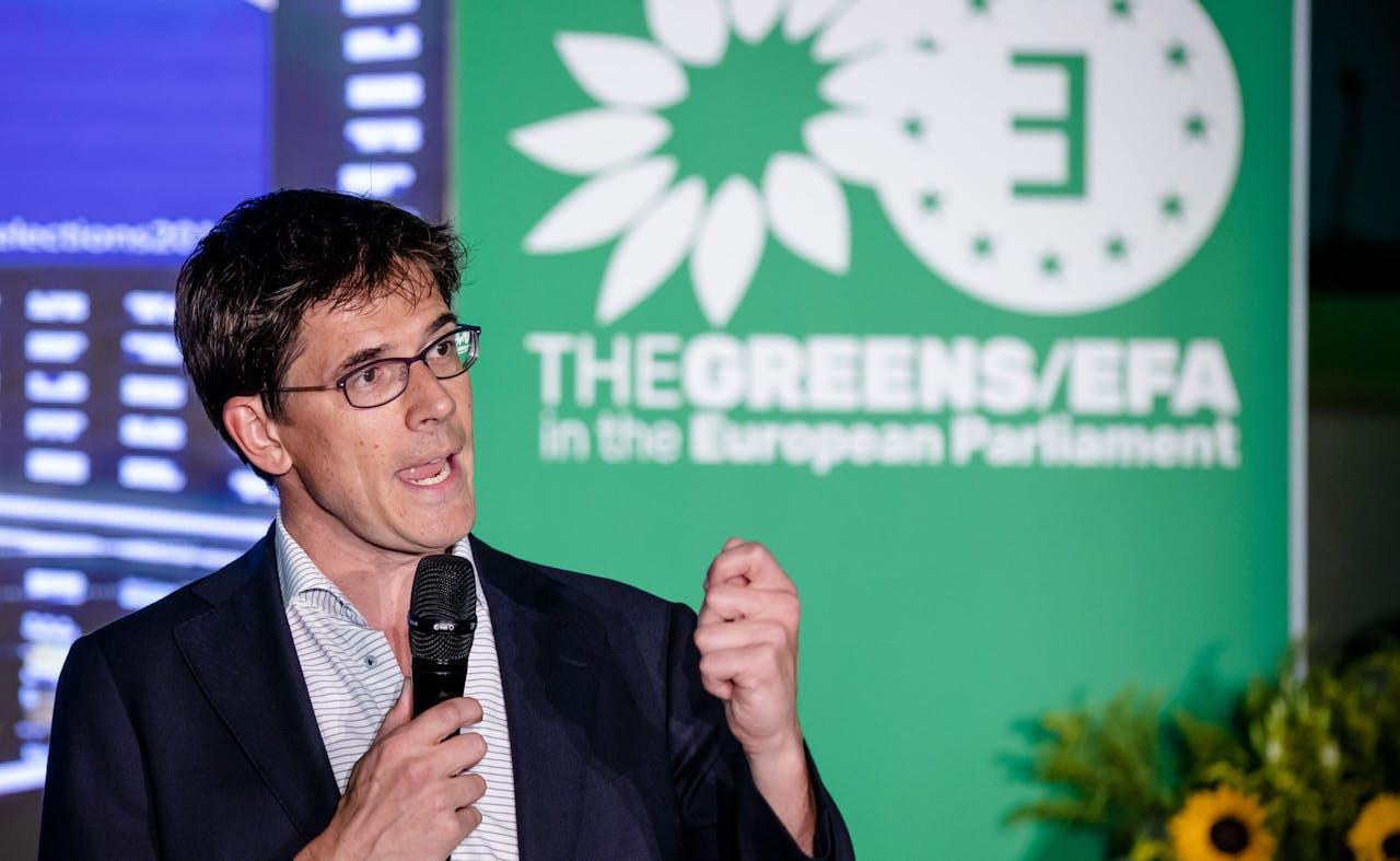 BRUSSEL - GroenLinks-Europarlementarier Bas Eickhout geeft een reactie in het Europees Parlement tijdens de uitslagenavond van de Europese Parlementsverkiezingen. ANP BART MAAT