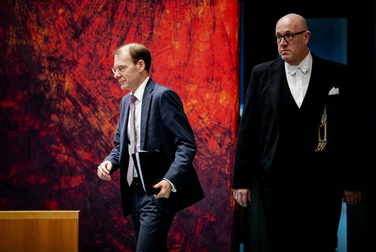 Staatssecretaris Menno Snel van Financiën tijdens het debat in de Tweede Kamer over het optreden van de Belastingdienst in de affaire rond kinderopvangtoeslagen.