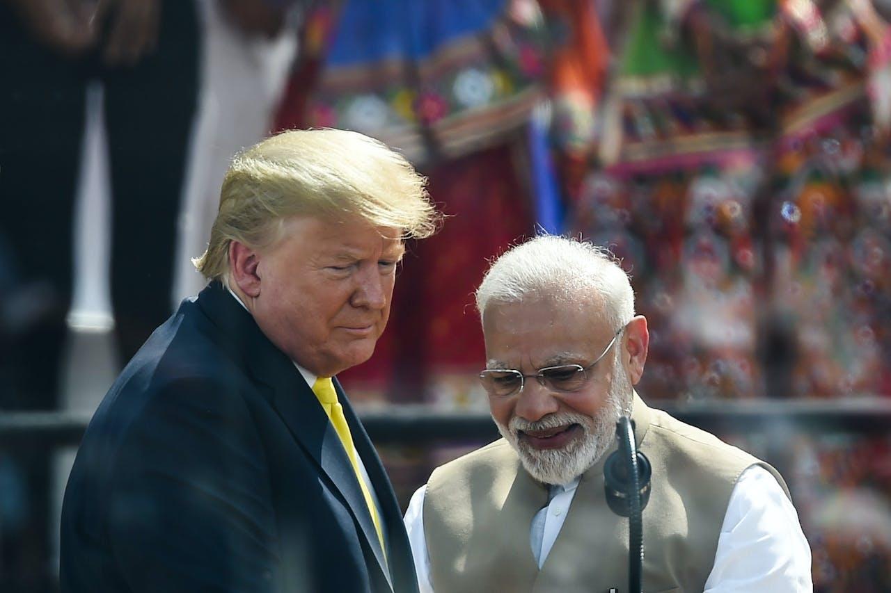 President Donald Trump op bezoek bij zijn Indiase ambtsgenoot Narendra Modi