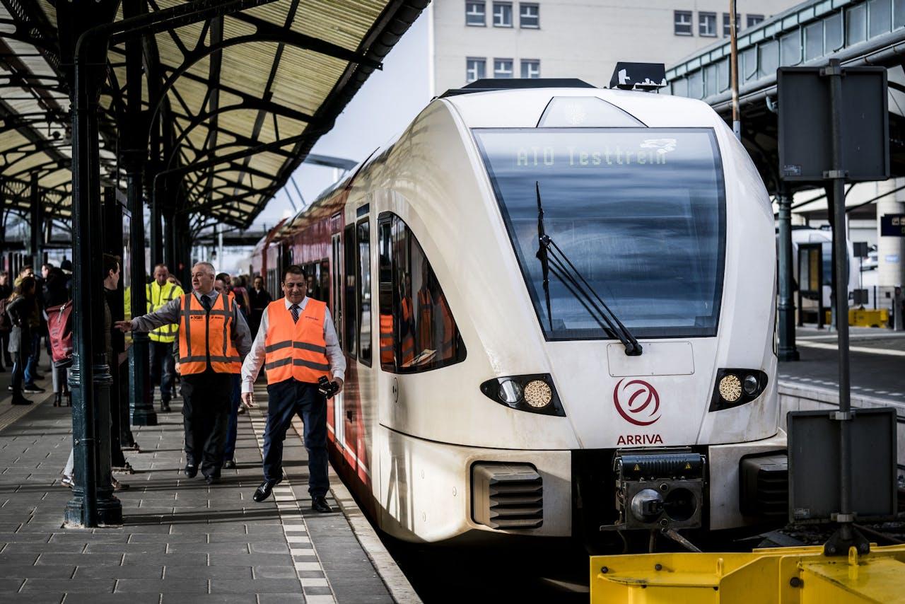 Tijdens de Automated Train Operation (ATO) van Arriva en ProRail deze zelfrijdende trein zijn testrondje gemaakt.