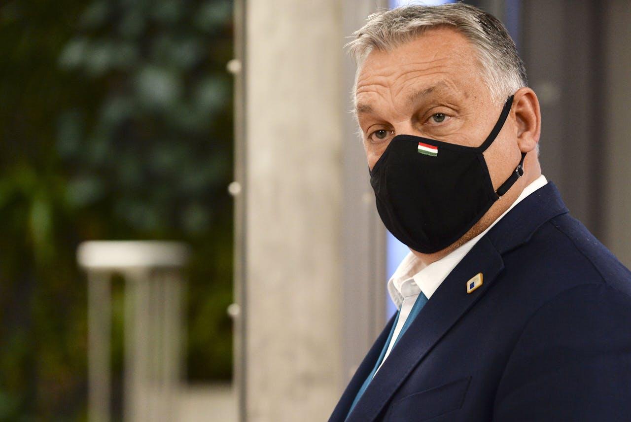 De Hongaarse premier Viktor Orban aan het eind van de Europese top.