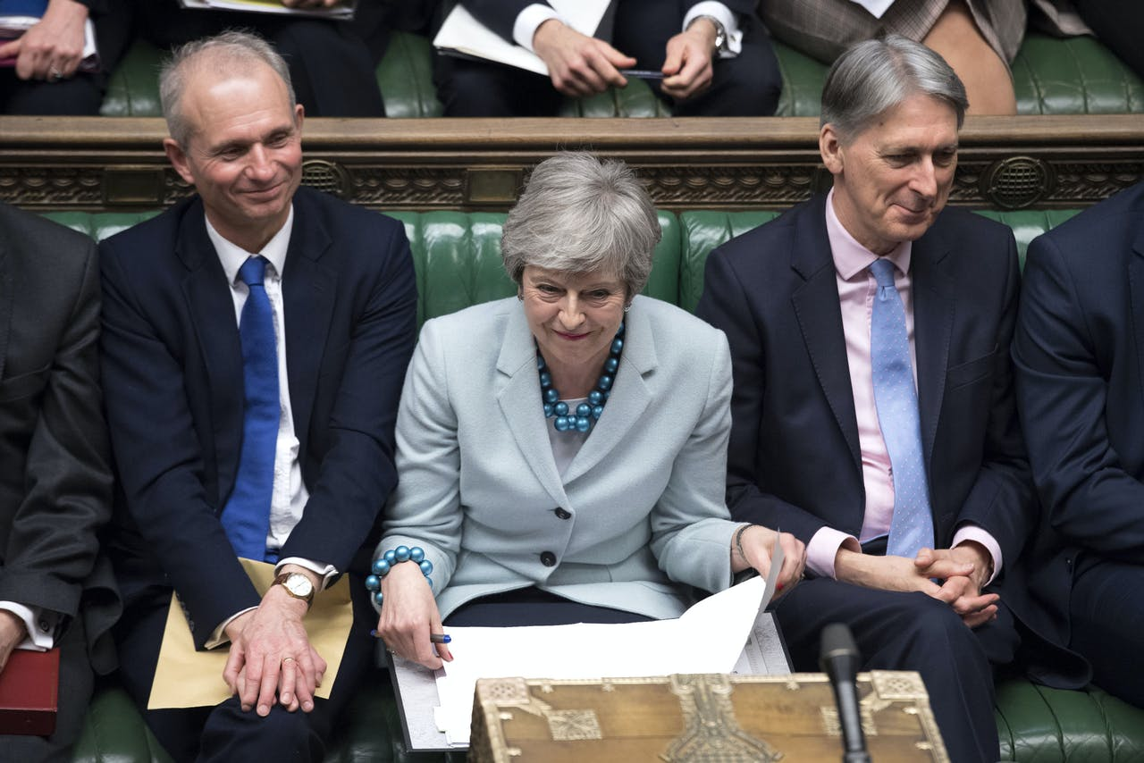 Theresa May in the House of Commons op 25 maart.