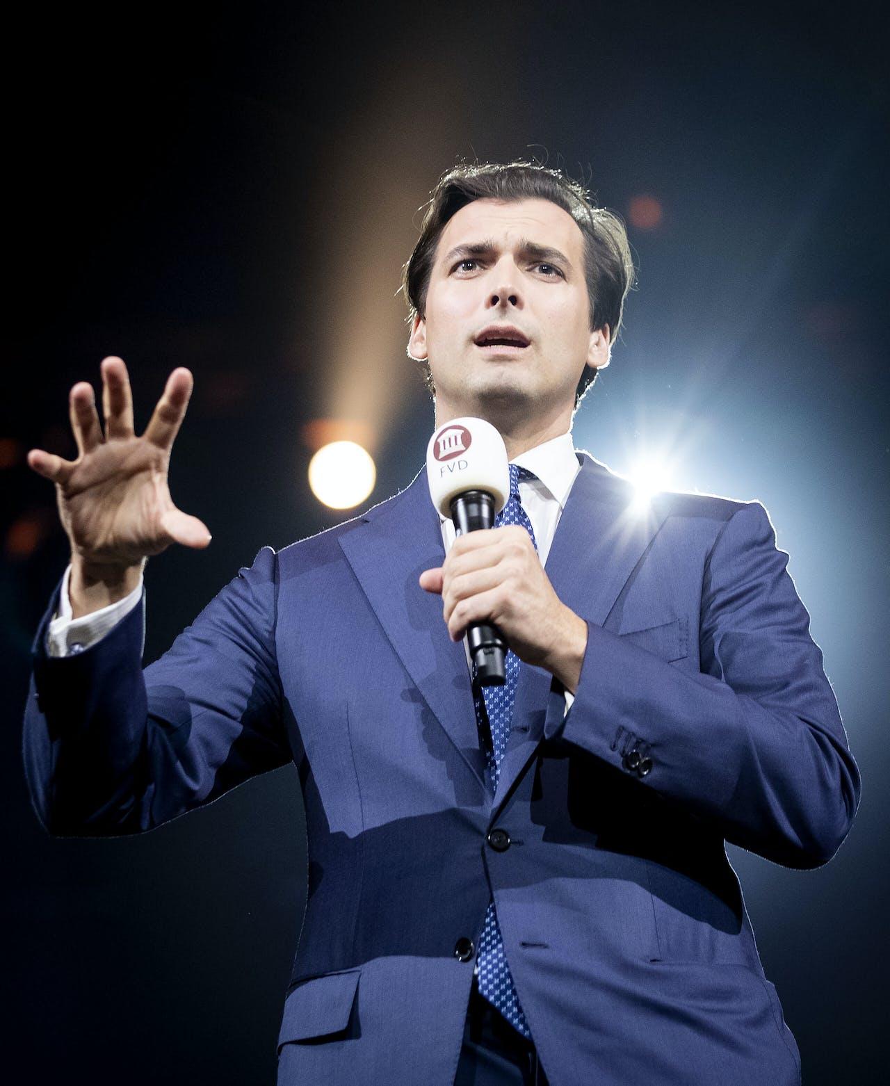 Thierry Baudet, toen nog lijsttrekker, tijdens de presentatie van de eerste tien kandidaten van Forum voor Democratie voor de Tweede Kamerverkiezingen.