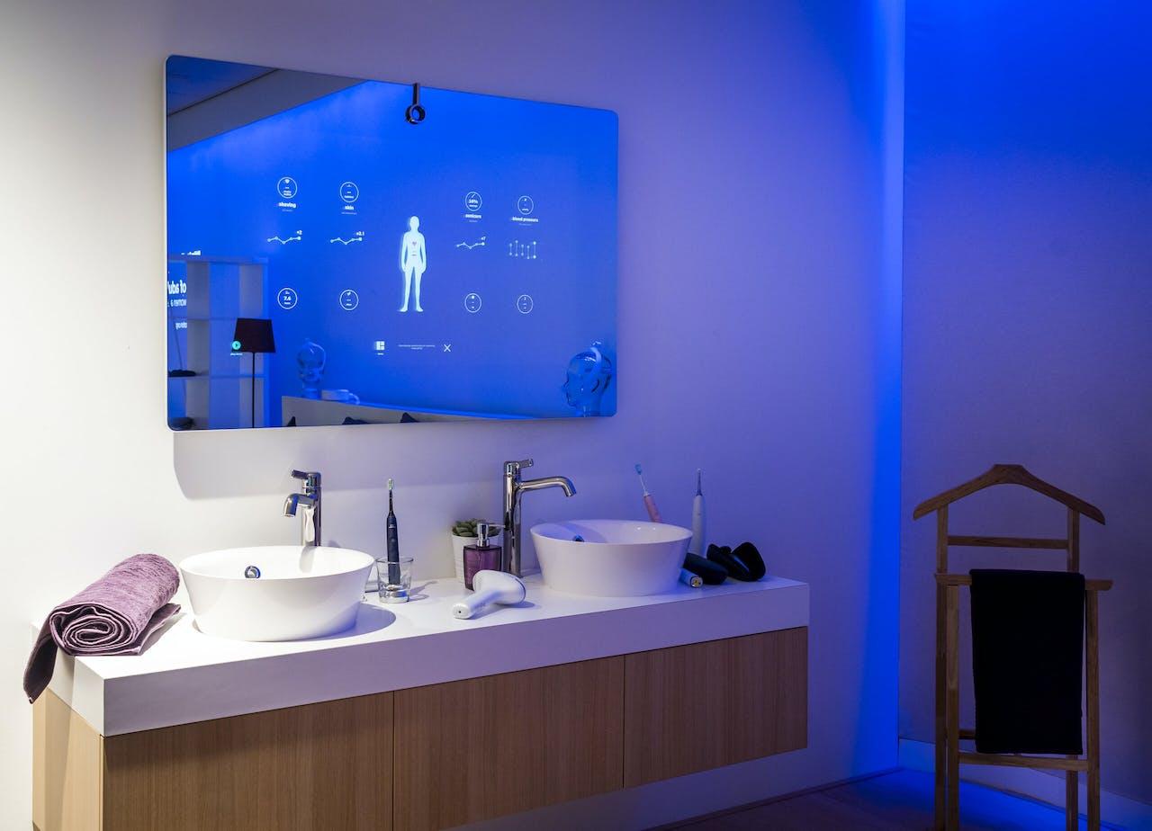 Een smart-spiegel bij Philips Healthcare.