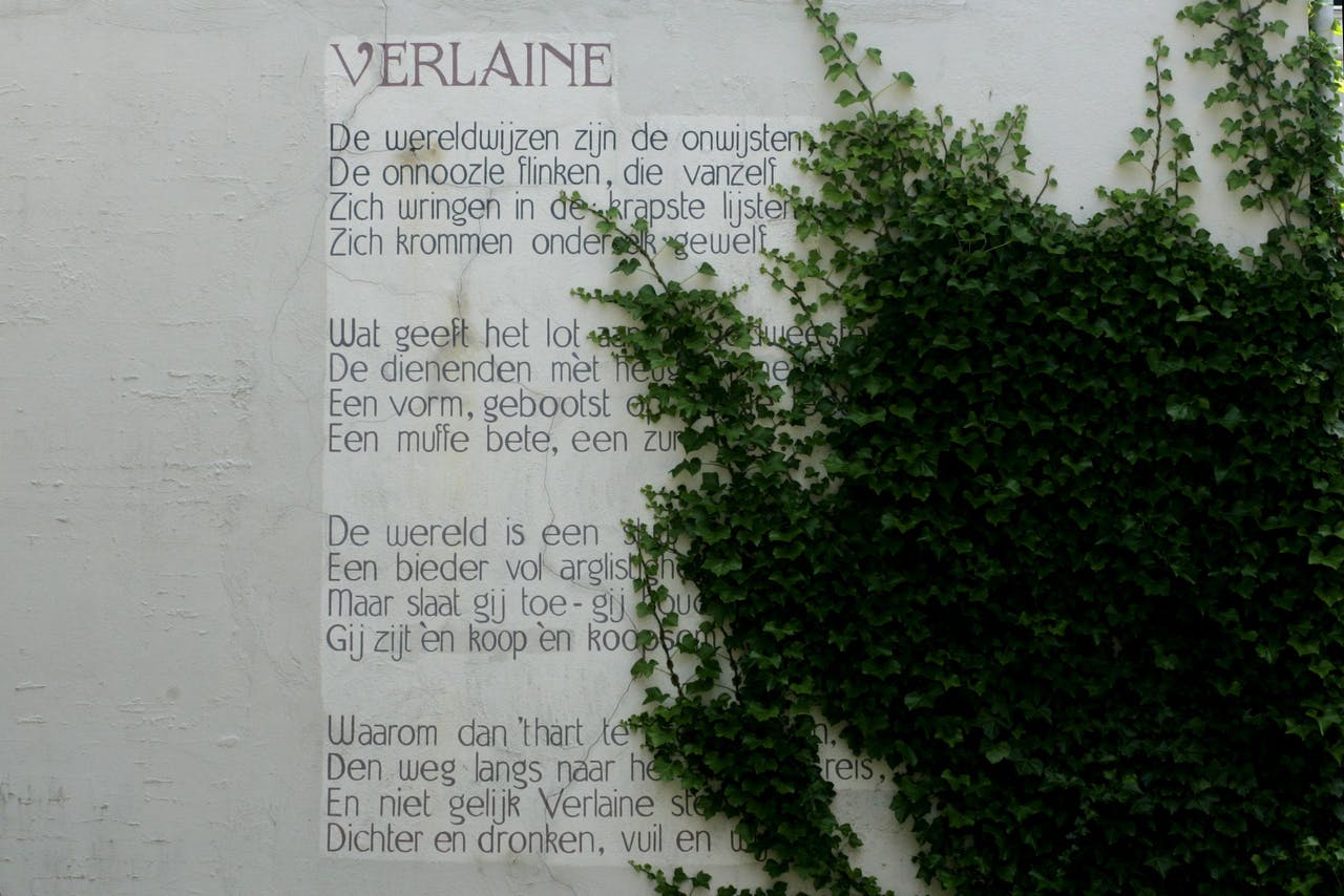 Het gedicht Verlaine van J.C. Bloem (1887-1966) prijkt op de muur van een grachtenpand in Leiden. Tussen 1992 en 2005 zijn er in de stad 101 gedichten op muren geschilderd.