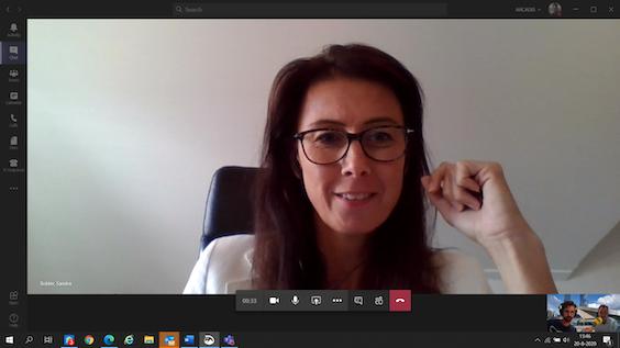 Verslaggever Connor Clerx via Teams in gesprek met Yoeri Schenau en Sandra Bolder van Arcadis