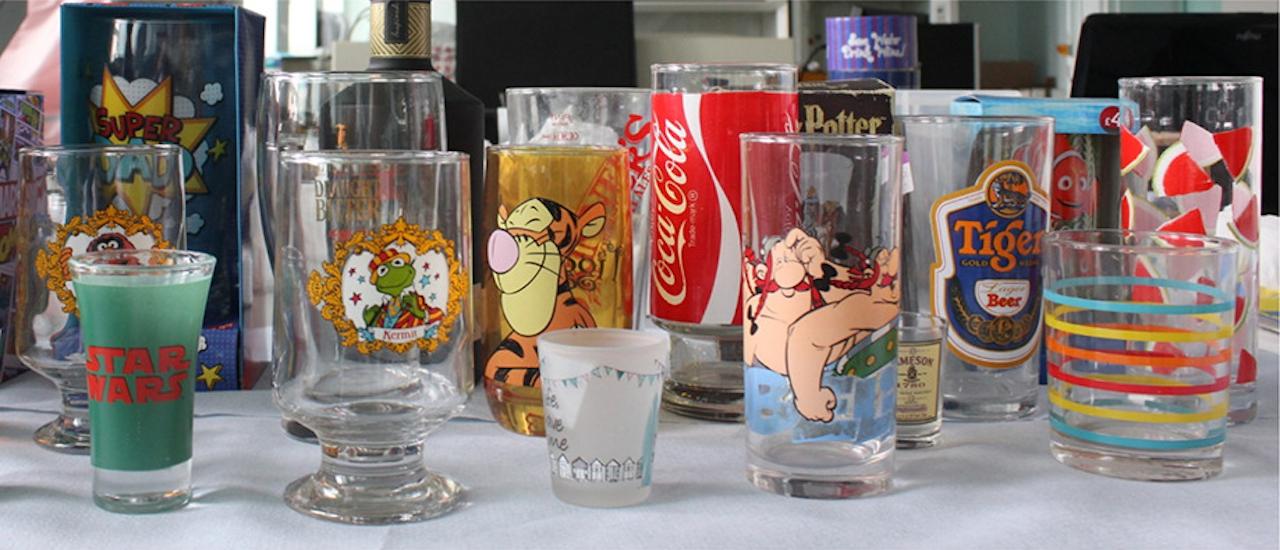 Een aantal van de glazen die in het onderzoek gebruikt zijn