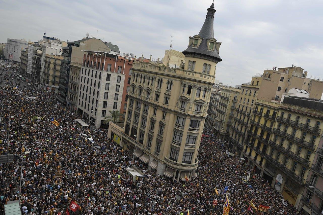 Demonstratie op Placa de la Universitat, vandaag,