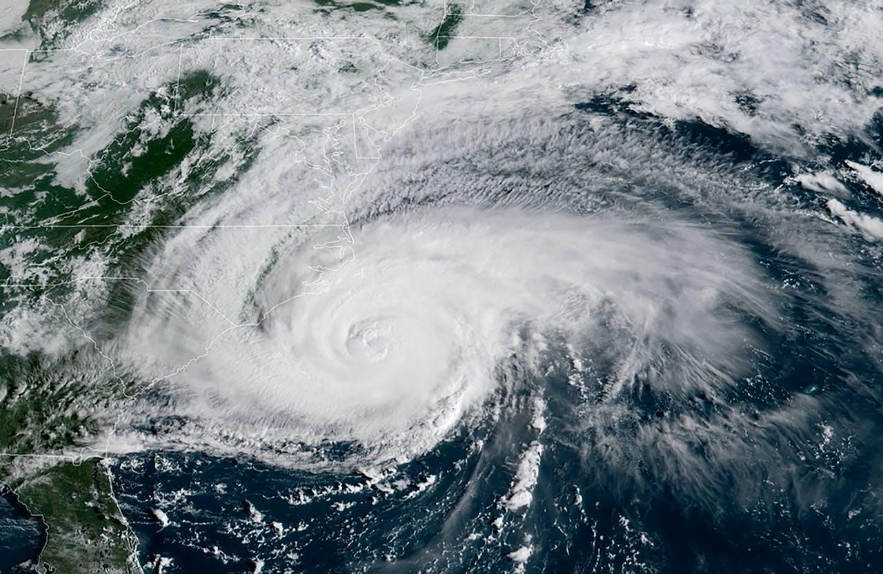 Satellietbeeld van orkaan Florence.