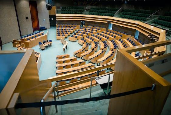 De plenaire zaal van de Tweede Kamer.
