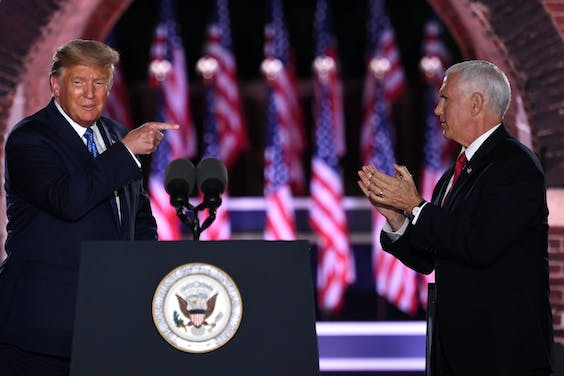President Donald Trump en Vice-president Mike Pence tijdens de Republican National Convention in Fort McHenry National Monument in Baltimore.