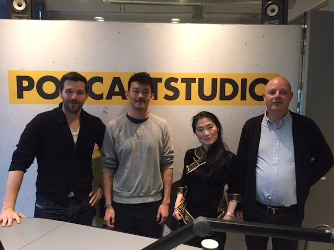 V.l.n.r. John-Boy Vossen, Pete Wu, Lulu Wang en Mark Beekhuis