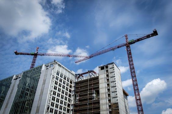 Een bouwterrein in Den Haag.