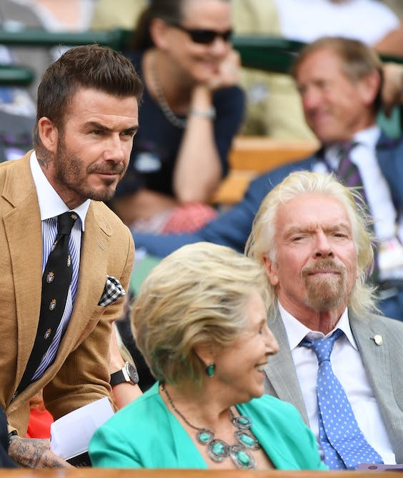 David Beckham en Richard Branson