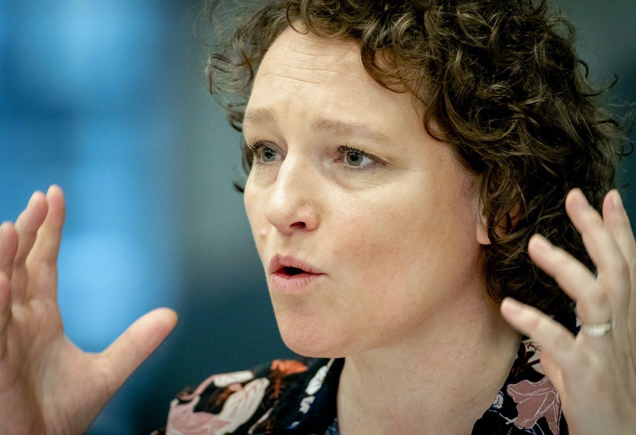 Renske Leijten (SP) tijdens een algemeen overleg in de Tweede Kamer over de Belastingdienst