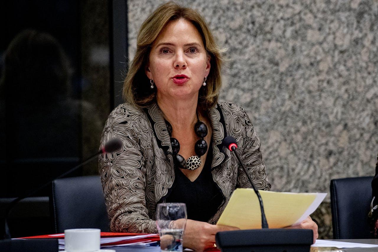 Minister Van Nieuwenhuizen van Infrastructuur en Waterstaat tijdens een vergadering van de Kamercommissie voor Infrastructuur en Waterstaat over de Stint.