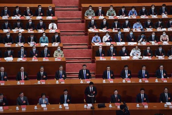 Parlementsvoorzitter Li Zhanshu spreekt het Chinese Parlement toe