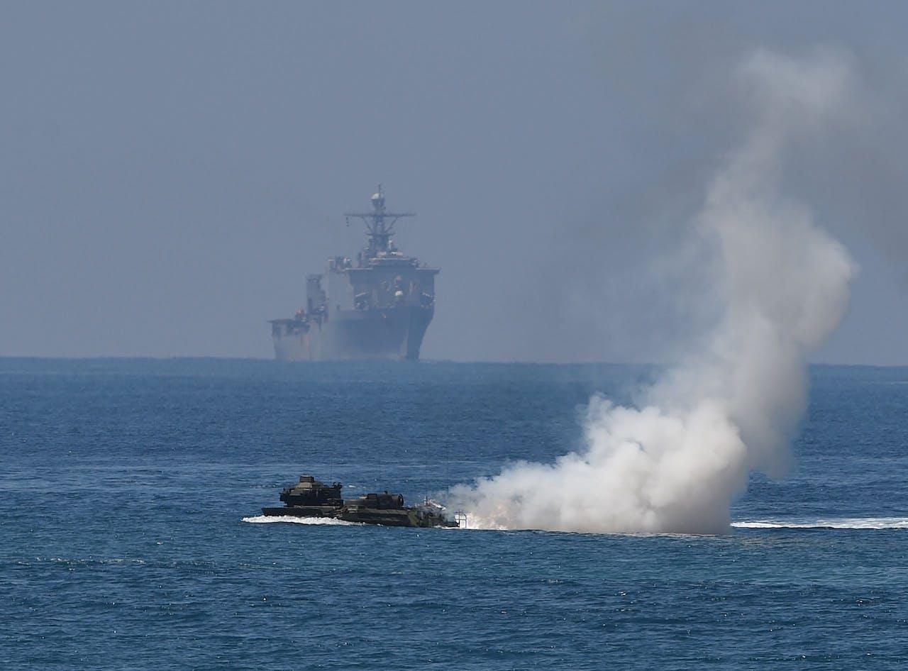 Een militaire oefening in de Zuid-Chinese Zee.