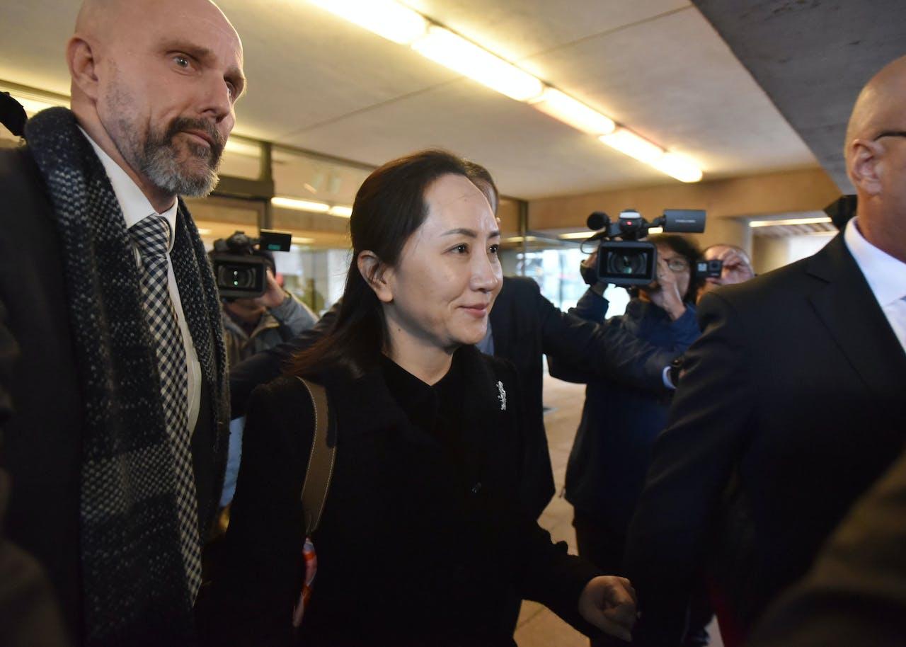 Huawei-CFO Meng Wanzhou na de eerste dag van de rechtszaak bij de Canadese rechtbank