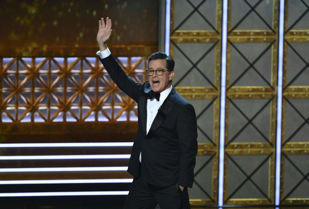 Presentator Stephen Colbert. Zijn show The Late Show With Stephen Colbert wordt geproduceerd door CBS.