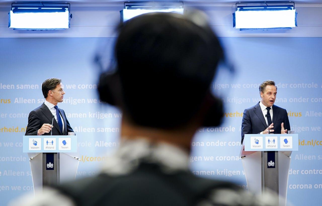 Demissionair premier Mark Rutte en demissionair minister Hugo de Jonge