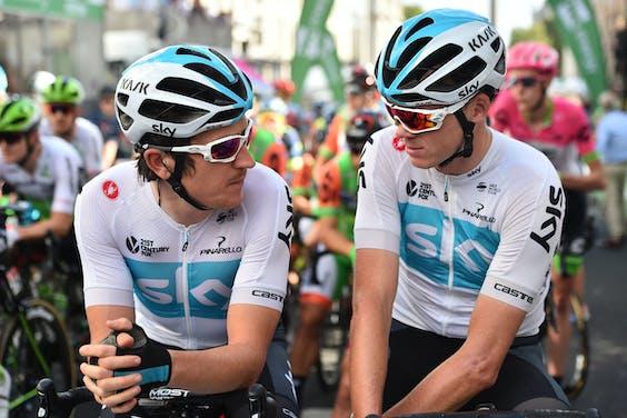 Geraint Thomas (L) en Chris Froome