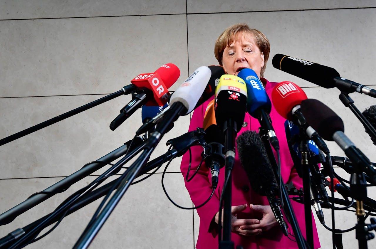 Merkel voorafgaand aan de gesprekken van vandaag.