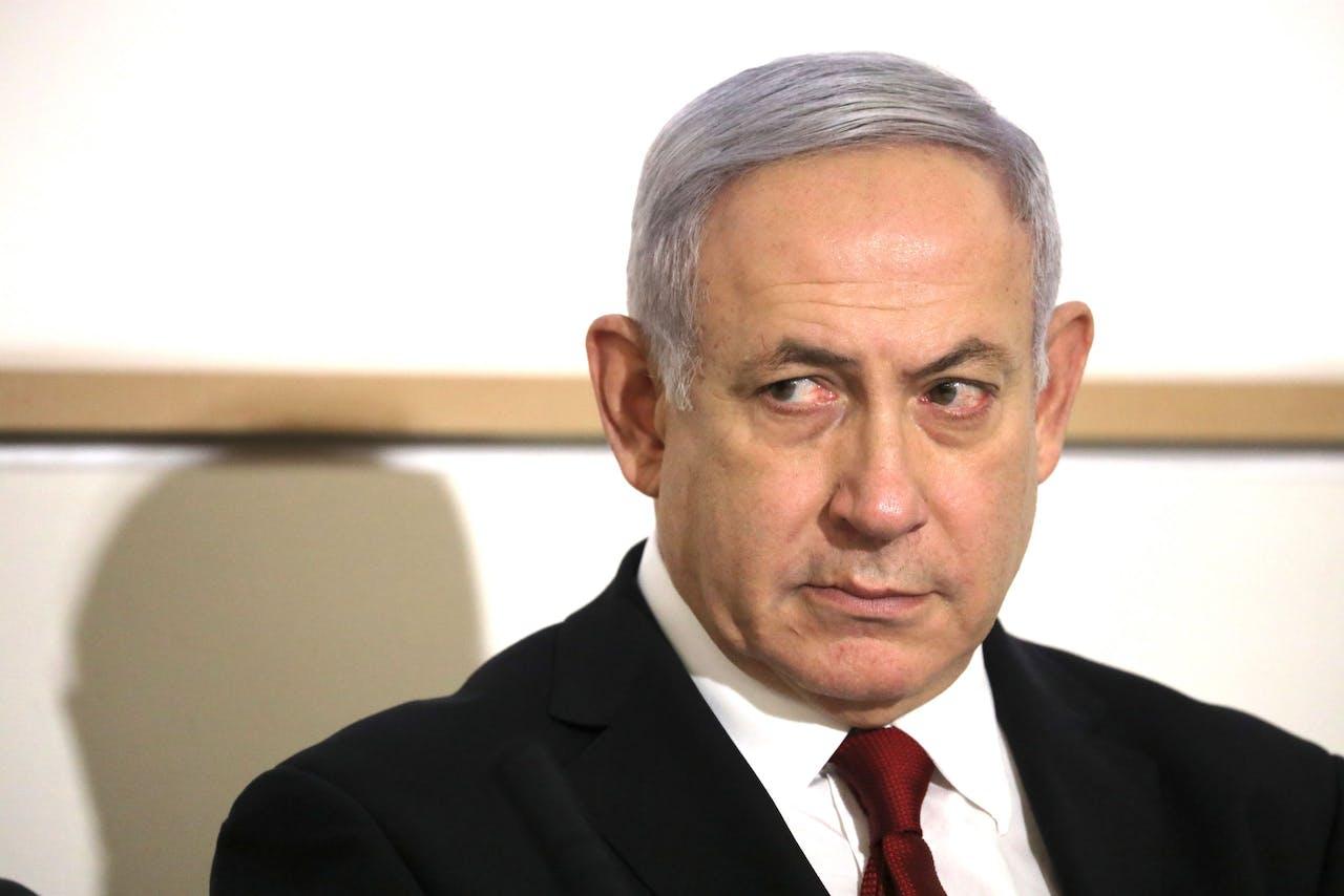 De Israëlische premier Benjamin Netanyahu op een persconferentie over de aanval op Gaza