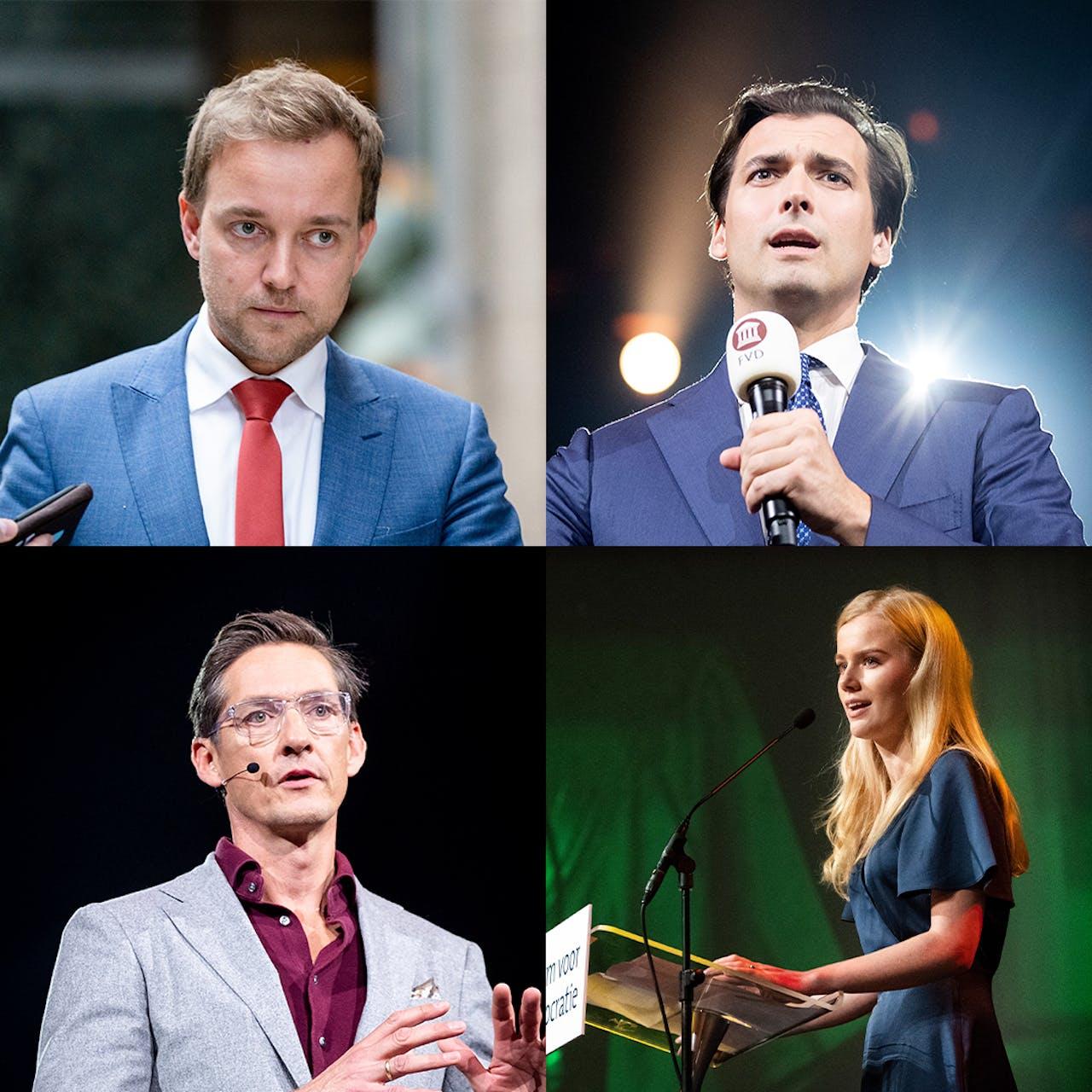 Lennart van der Linden (bestuurslid en senator, linksboven) Thierry Baudet (oprichter, rechtsboven), Joost Eerdmans (nummer 4 van de conceptkieslijst, linksonder) en Eva Vlaardingerbroek