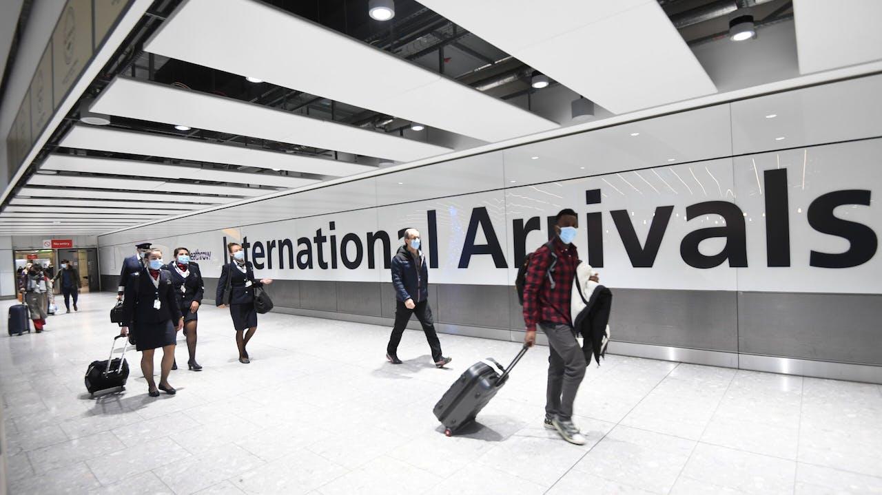 Aankomsthal op vliegveld London Heathrow Airport