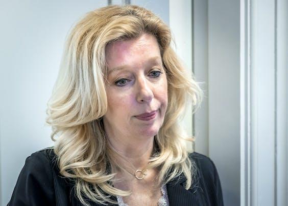 Liane den Haan van 50PLUS in haar werkkamer, nadat zij bekend had gemaakt de partij te verlaten.
