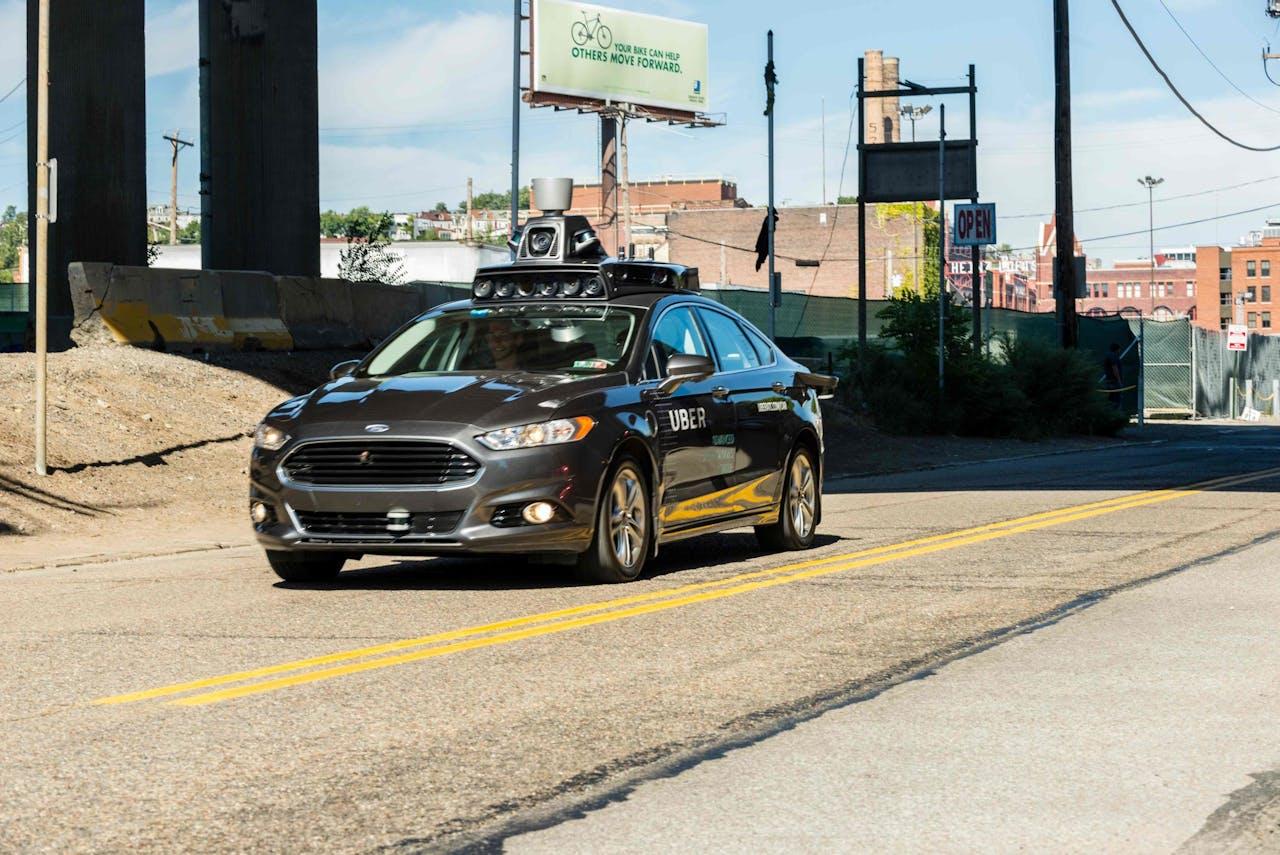 Proefmodel van een autonome Uber, het type auto dat het dodelijke auto veroorzaakte.