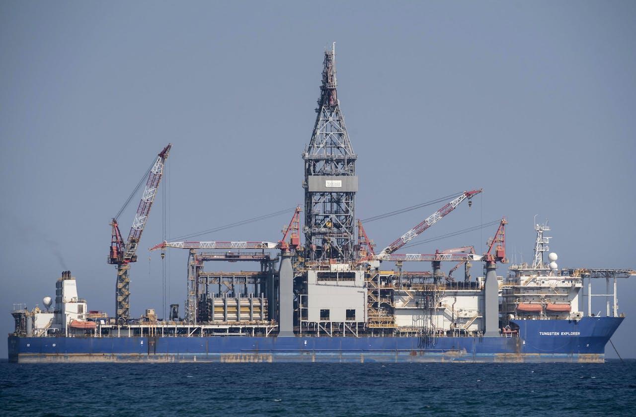 Een boorschip van het consortium van Total