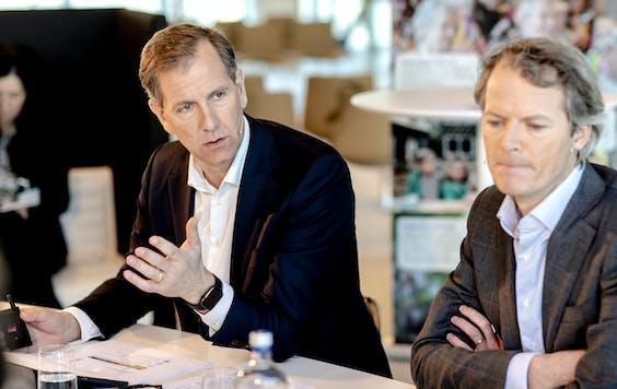CEO Wiebe Draijer en CFO Bas Brouwers tijdens een toelichting op de financiële resultaten van 2018.