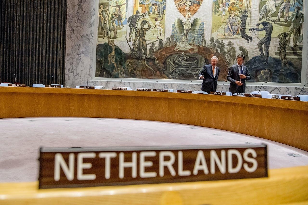 NEW YORK - Premier Mark Rutte tijdens een vergadering van de Veiligheidsraad van de Verenigde Naties. Nederland