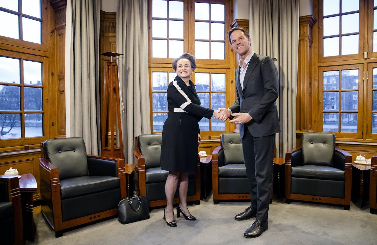 Premier Mark Rutte ontvangt Alexandra van Huffelen (D66), beoogd staatssecretaris van Financien.