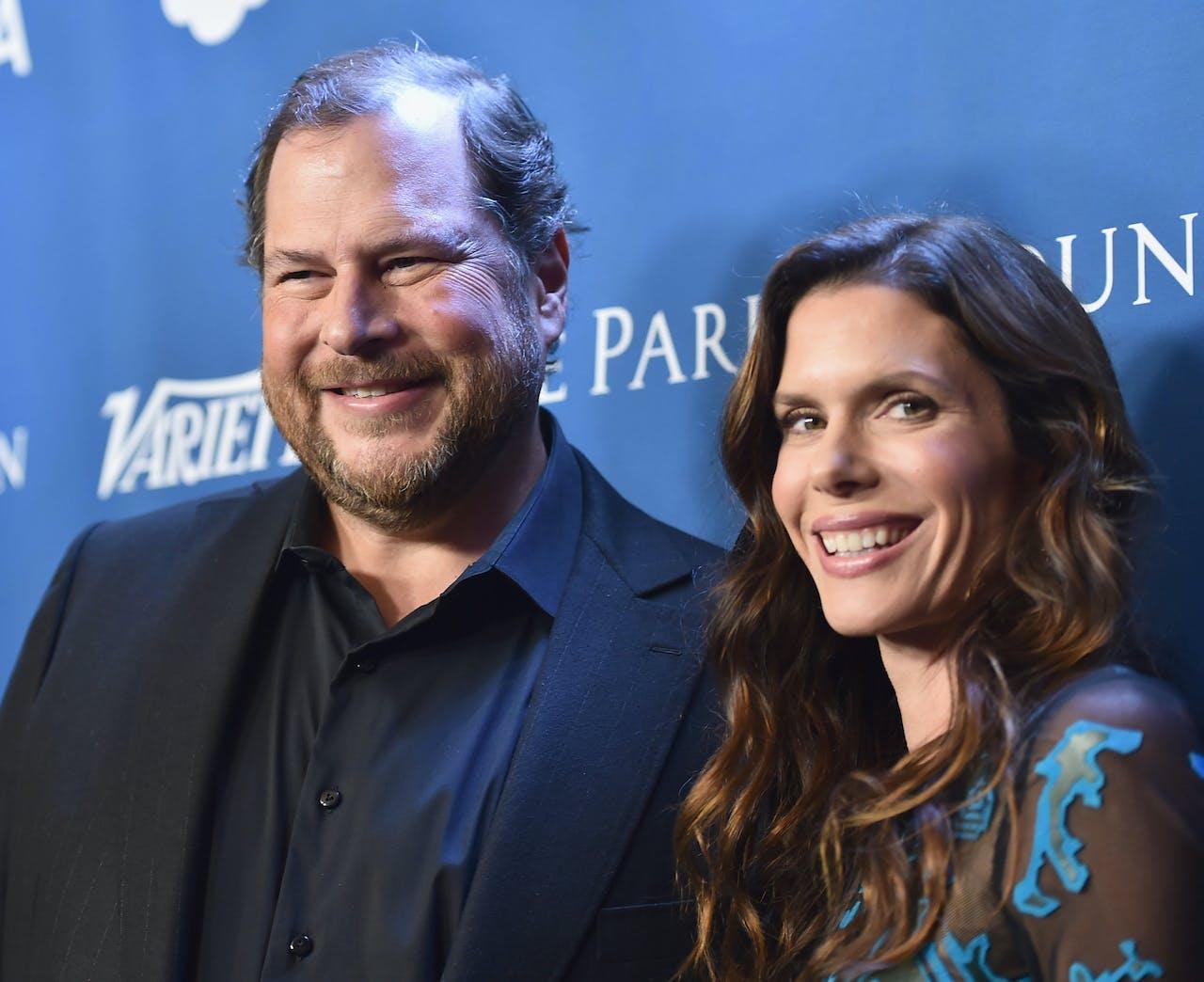 Marc Benioff en Lynne Benioff