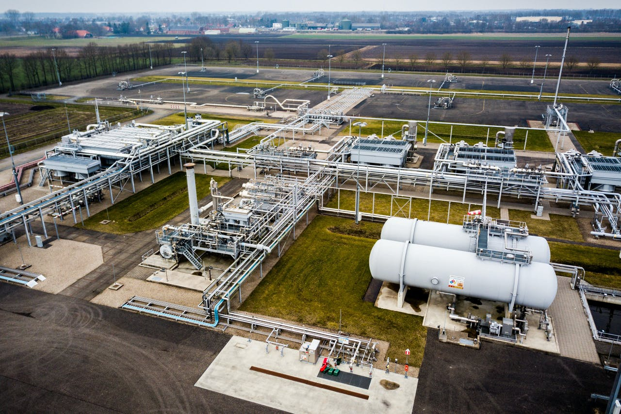 Gaswinningslocatie van de NAM in Muntendam. Het kabinet heeft besloten om binnen 12 jaar een einde te maken aan de gaswinning in de provincie Groningen.