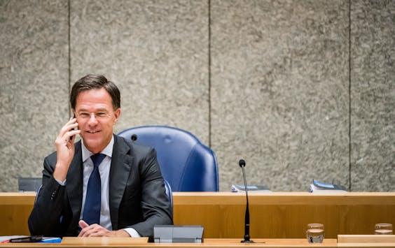 Premier Mark Rutte tijdens het debat in de Tweede Kamer over de Europese top van 17 en 18 juli 2020.