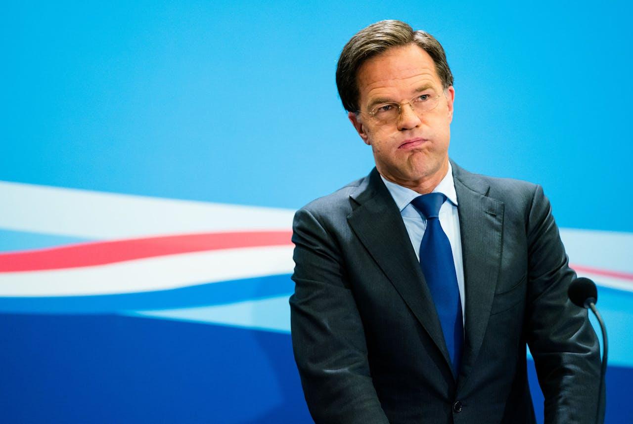 Premier Mark Rutte tijdens de wekelijkse persconferentie