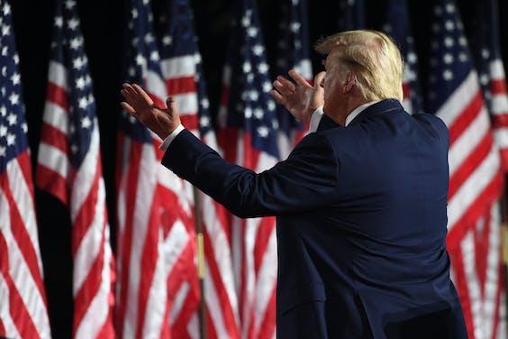 President Donald Trump tijdens zijn speech op de Republikeinse conventie.