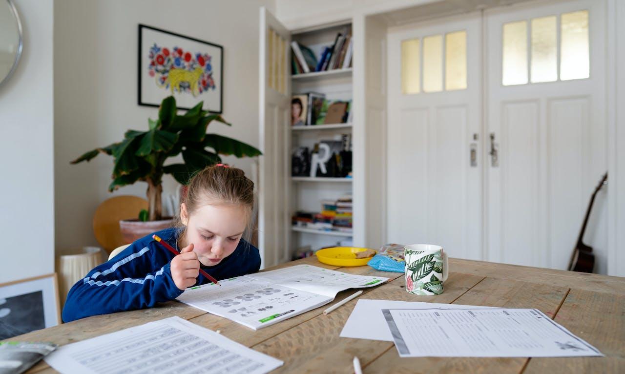 DEN HAAG - Een leerling van 8 krijgt thuisonderwijs. Veel scholen stellen een thuiswerkpakket samen of maken gebruik van digitale lesmethodes, nu het onderwijs voor een aantal weken is gesloten door het coronavirus. ANP BART MAAT