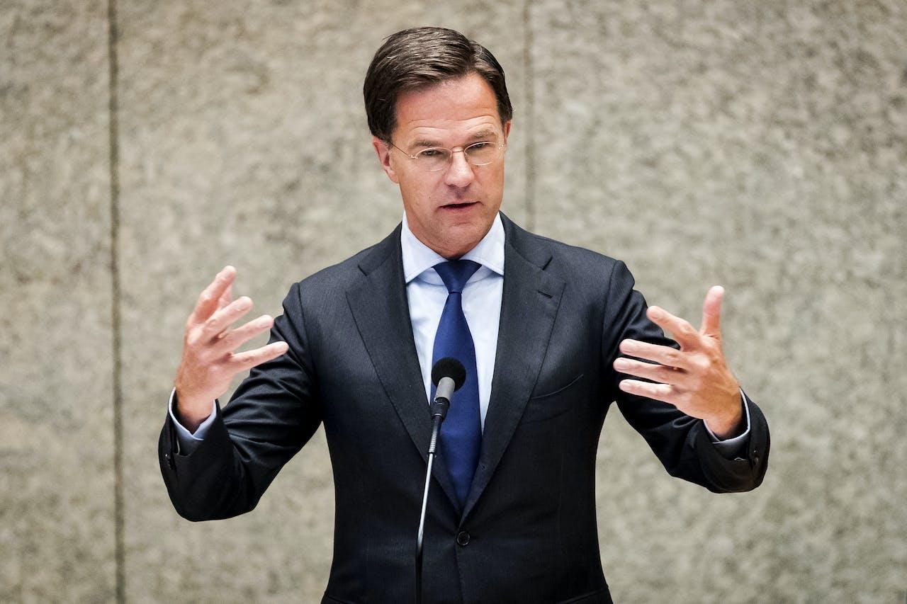 Premier Mark Rutte tijdens een debat in de Tweede Kamer over de Europese top van 19 juni