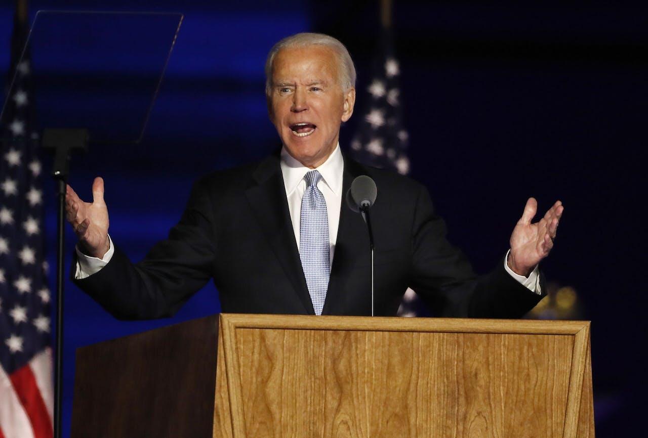 Joe Biden tijdens zijn overwinningsspeech op 7 november 2020.